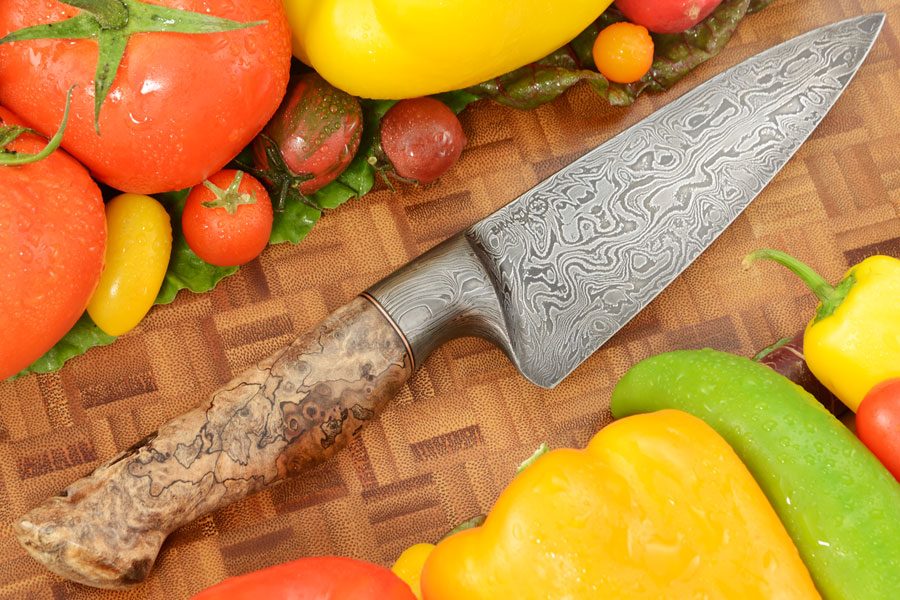Integral Damascus Chef's Knife (6 in.) with Spalted Maple Burl