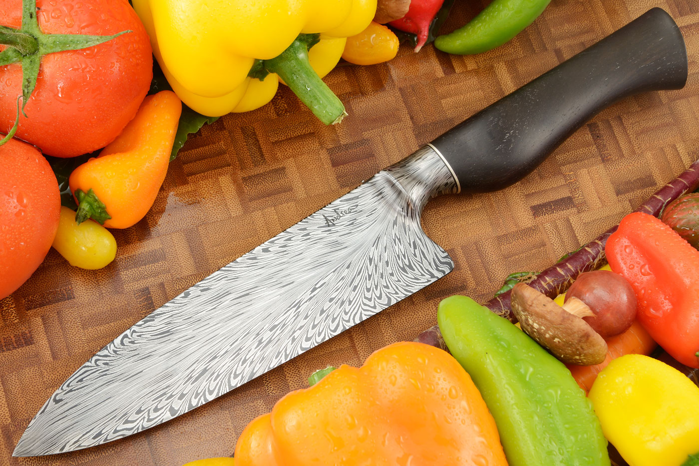 Chef's Knife (7-1/4 in.) with Feather Damascus and African Blackwood