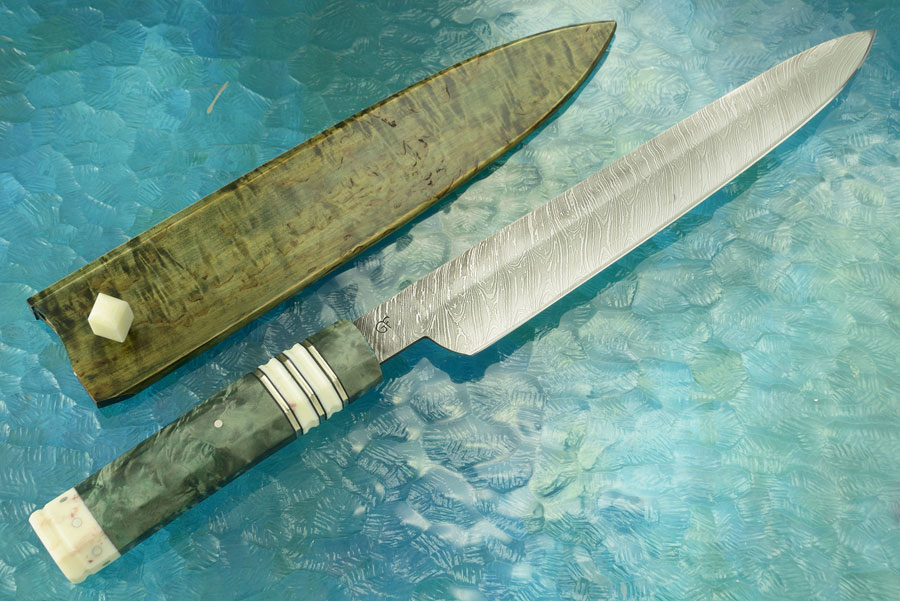 Damascus Chef's Slicer Masur Birch and Ancient Walrus Ivory