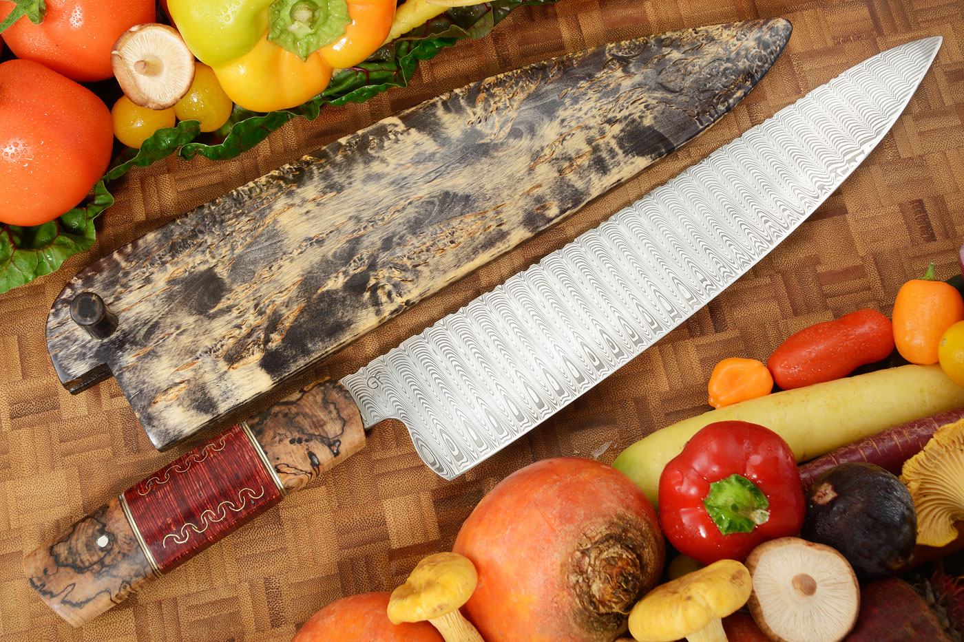 Damascus Chef's Knife with Spalted Birch (11-1/4