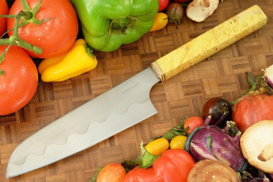 Chef's Knife - Santoku (6-1/4 in) with Maple Burl - Carbon Steel