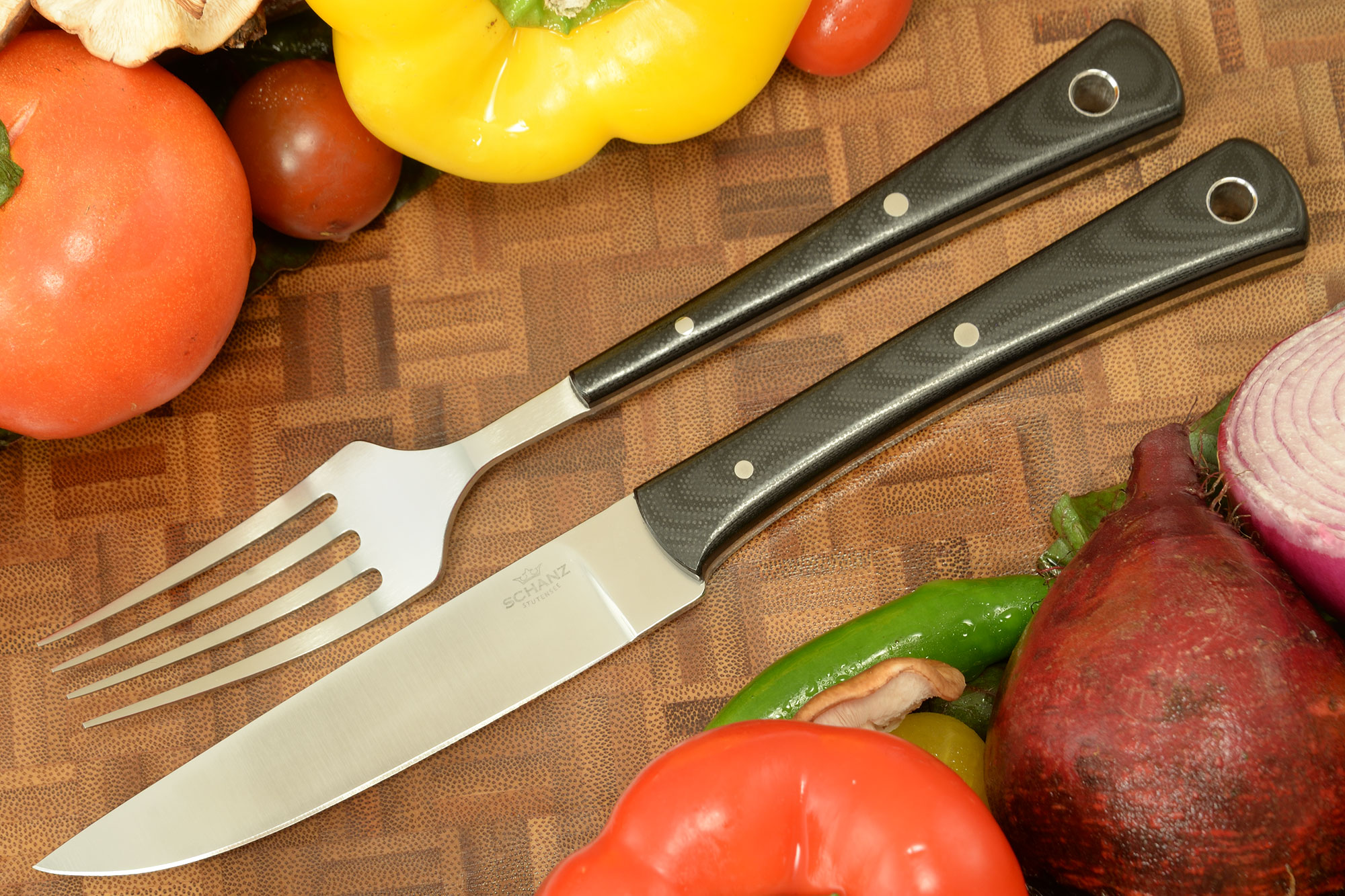 Fork and Knife Set with Black G-10
