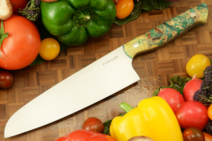 Chef's Knife - Santoku (7 in) with Green Maple Burl