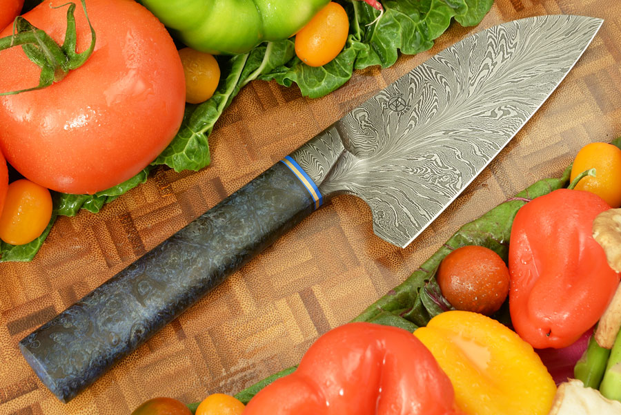 Integral Damascus Petite Santoku Chef Knife (5-1/4 in) with Big Leaf Maple