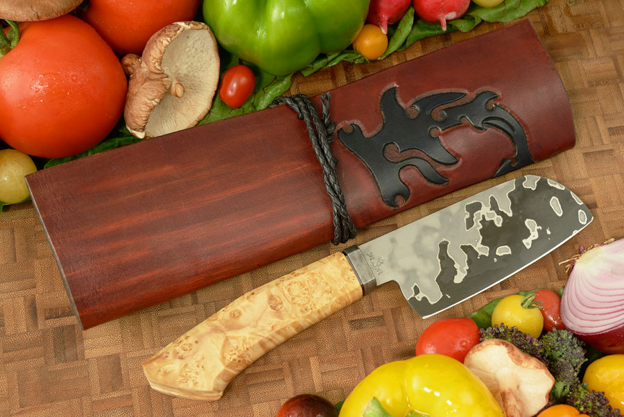 San Mai Petite Chef's Knife (4-2/3 in) with Box Elder Burl