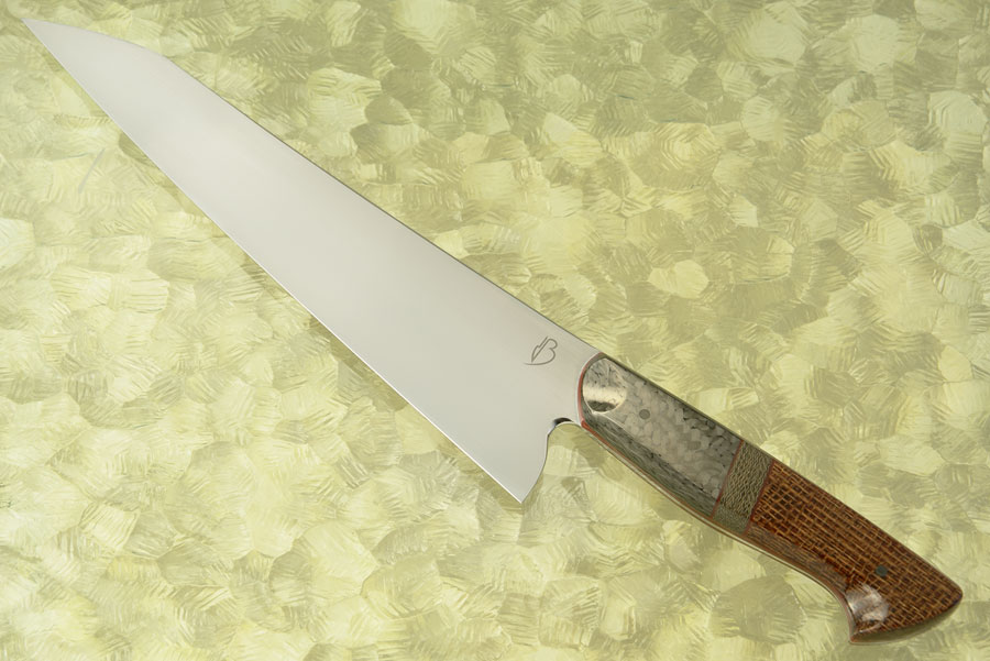 Chef's Knife (9-1/8 in) with Burlap and Green Canvas Micarta Along with Carbon Fiber