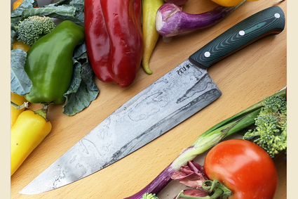 Chef's Knife (Cocinero 230mm) with Green/Black Micarta and O2 Carbon Steel