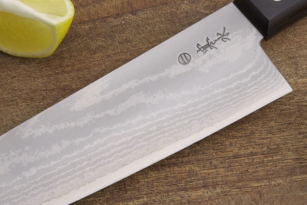 Kansui Ink Pattern Chef's Knife - Suminagashi Santoku Hocho - 6 3/4 in.