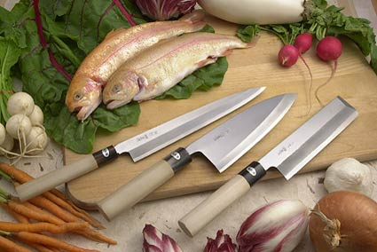 Hon Kasumi Right-Handed Set of Three Professional Japanese Kitchen Knives