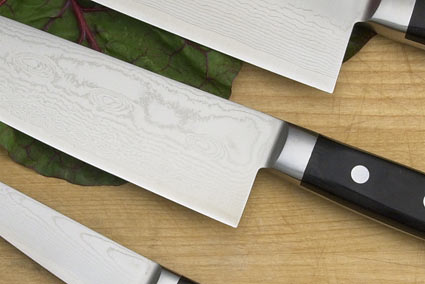 Ryusen Damascus Chef's Set: Paring (4 in.)/Santoku (7 in.)/Gyuto (9 1/2 in.)