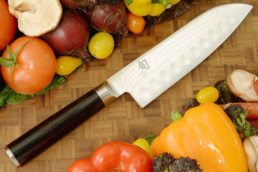 Shun Classic Santoku Knife - 6 1/2 in., Scalloped (DM0718)