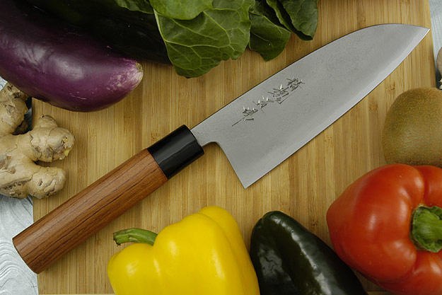 Seikon Dojo Kurouchi - Santoku with Bubinga Wood Handle, 7 in.