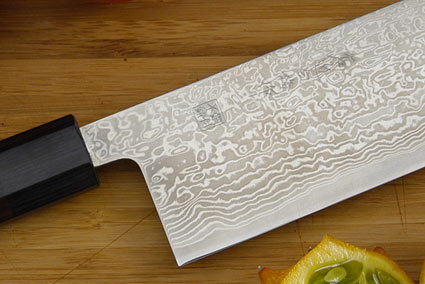 Sakon Damascus Vegetable Knife - Nakiri - 6 1/3 in.