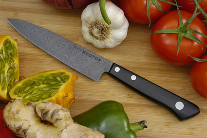 Kyocera Kyotop Ceramic Damascus Utility Knife - Fruit Knife - 4  in. (KT-110-HIP-D)