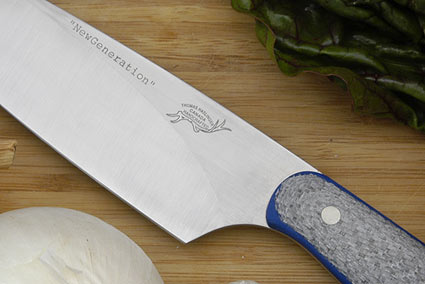 HCK Chef's Knife with Silver Twill and Blue G10 - 8 in.