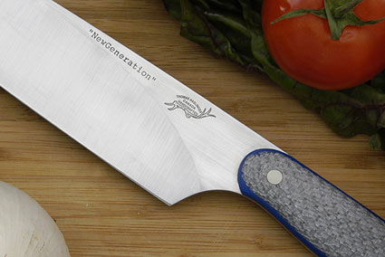 HCK Chef's Knife with Silver Twill and Blue G10 - 10 in.