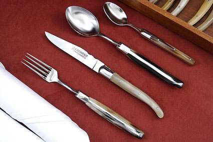 Laguiole Flatware, Horn Tip (6 place settings)