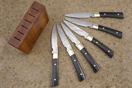 Handmade Steak Knife Set with Black Linen Micarta