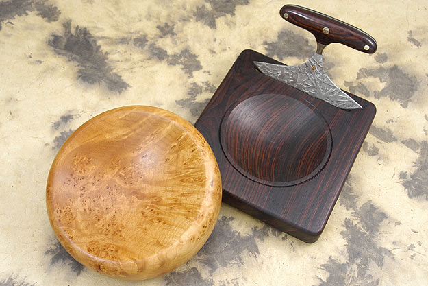 Mezzaluna with Cocobolo Presentation Stand and Oregon Burl Bowl