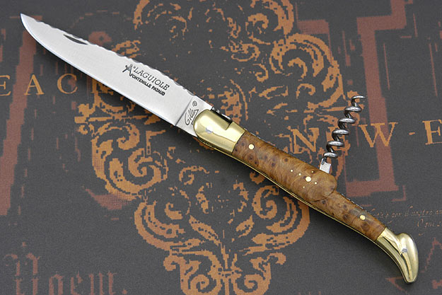 Laguiole Guilloch� Picnic Knife with Corkscrew, Thuya Burl and Brass