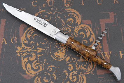 Laguiole Guilloché Picnic Knife with Corkscrew, Snakewood