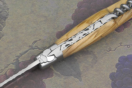 Laguiole Guilloch� Picnic Knife with Corkscrew, Olive Wood