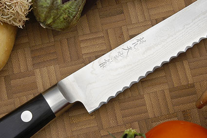 Ryusen Damascus Bread Knife  - 9-3/4 in. (245mm)