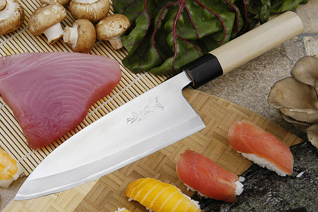 Tadafusa Aogami Professional Left-Handed Deba - 7 1/8 in. (180mm)