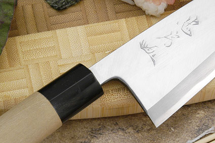 Tadafusa Aogami Professional Right-Handed Deba (Ajikiri) - 5 1/3 in. (135mm)