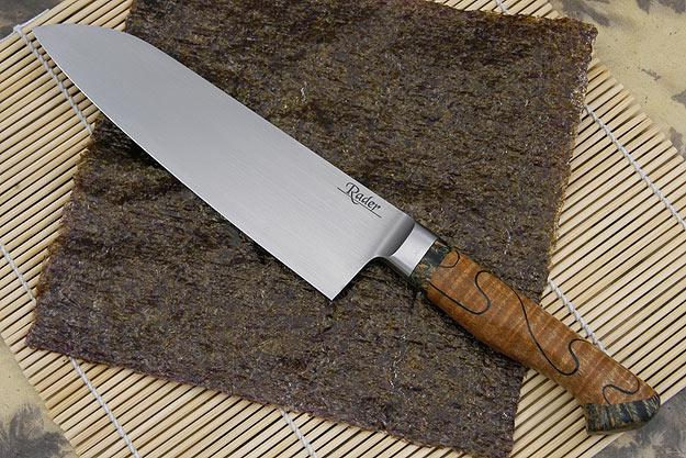Santoku with Curly Maple and Maple Burl