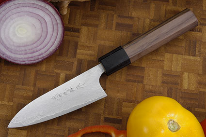 Asai Damascus Petty Knife - 4 1/4 in. (105mm)