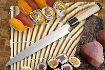 Suminagashi Right-Handed Yanagiba (Sashimi Knife) - 240mm (9 1/2 in.) with Saya