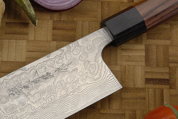 Asai PM Damascus Vegetable Knife - Nakiri - 6 3/4 in