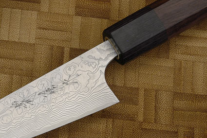 Asai PM Damascus Petty Knife - 4 1/4 in. (105mm)