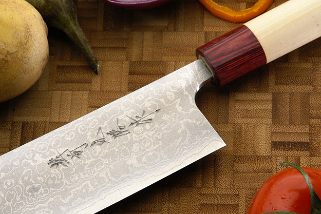 Asai Enji Damascus Chef's Knife - Nakiri - 6 3/4 in. (170mm)