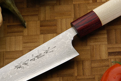 Asai Enji Damascus Slicing Knife - Petit Gyuto - 6 1/3 in. (160mm)