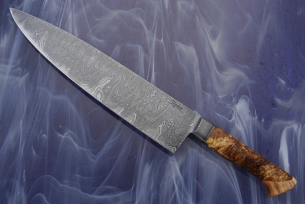 Damascus Chef's Knife with Maple Burl and Curly Maple (10 3/4 in.)