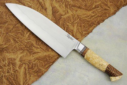 Santoku with Koa and Box Elder Burl (7 1/4 in.)