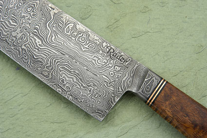 Damascus Santoku (Chef's Knife) with Curly Koa and Box Elder (7 1/4 in.)