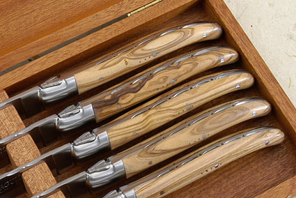 Laguiole Steak Knives, Set of 6 with Olive Wood
