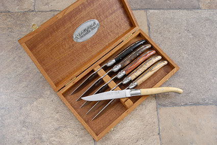 Laguiole Steak Knives, Set of 6 with Exotic Woods