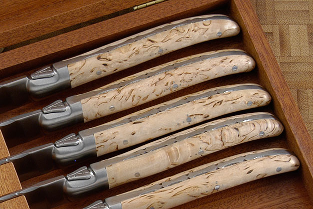 Laguiole Steak Knives, Set of 6 with Masur Birch
