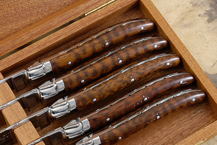 Laguiole Steak Knives, Set of 6 with Snakewood