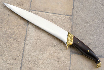 Carving Knife with Carved Brass Bolsters