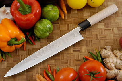 Hammer Finished Carving Knife - Sujihiki, Traditional - 9 1/2 in. (240mm)