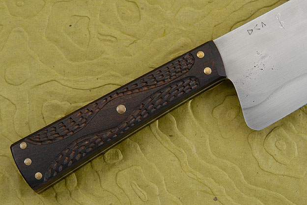 Chef's Knife with Carved Ironwood (Honyaki) - 10 in.
