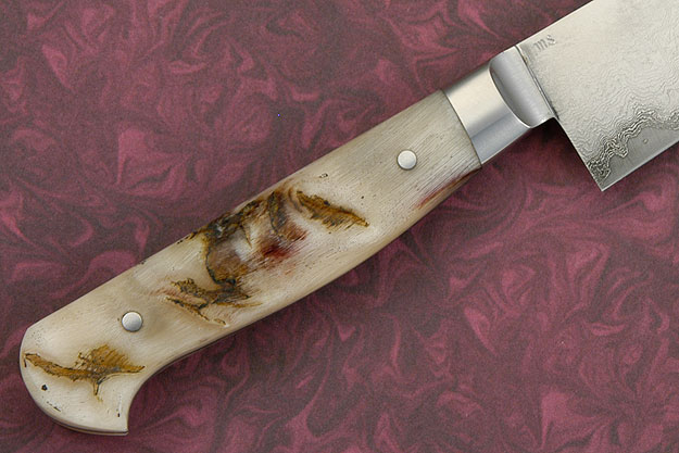 Damascus Petit Gyuto/Utility Knife with Sheep Horn (5-3/4 in.)