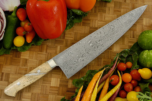 Damascus Chef's Knife with  Ancient Walrus Bone (10-1/2 inches)