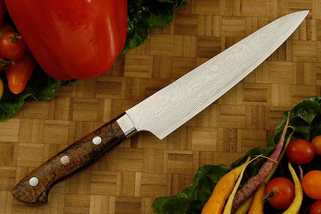 Western Damascus Petit Gyuto/Utility Knife with Koa Handle  - 160mm (6-1/3 in)