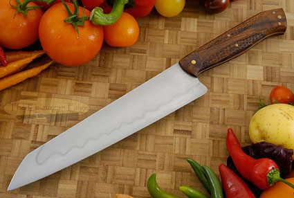 Chef's Knife with Carved Ironwood (Honyaki) - 9 in.